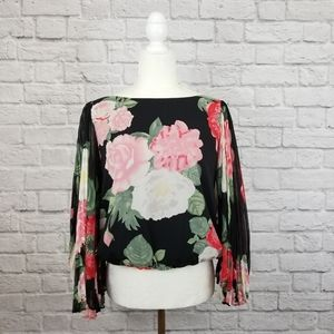 Alice +Olivia Briar floral pleated wide sleeve top